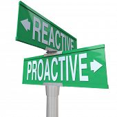 A two way green road sign with the words Proactive and Reactive making you choose between a life of
