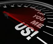 The words You Me and Us on a speedometer to symbolize the speed and success that can be achieved thr