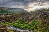 Canyon leading to Glymur, the highest of the Icelandic waterfalls. It is located on the west of the island.