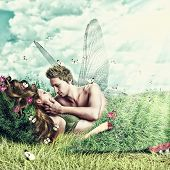 Loving Fairy Couple In A Bed Of Grass