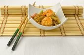 Chinese noodles with prawn, traditional chinese plate