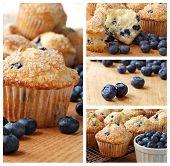 Collage der frisch gebackenen Blaubeeren Muffins gekrönt mit Zucker Streuseln