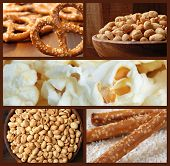 Collage of snack foods includes pretzels, roasted peanuts, and fresh popcorn.