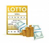 Bilhete de loteria e o dinheiro, Close-Up ilustração