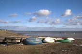 Boats On Southend Beach, Essex, England