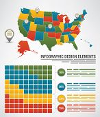 Map of the United States with each state editable and other elements for designs