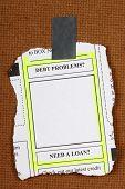 Debt Problems Newspaper Clipping