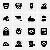 image of private detective  - Set of video surveillance icons on light grey background - JPG