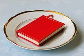 Red Book On White Chinaware