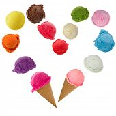 Ice cream heart over white background