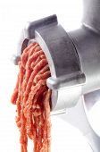 Minced Meat Comes Fresh From A Mincer