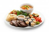 Lunch - Vegetables Salad, Sushi, Salmon Soup, Fried Vegetable, Fried Beef and Fried Rice