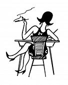 Gal Working At Desk - Retro Clip Art Illustration