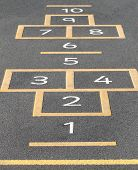image of hopscotch  - Hopscotch game painted on a school playground - JPG