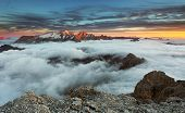 Mountain Marmolada At Sunset In Italy Dolomites At Winter