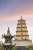 El famoso gigante Wild Goose Pagoda, Xian, China