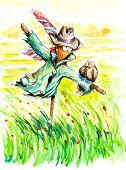 picture of scarecrow  - Two birds sitting on scarecrow - JPG