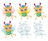 stock photo of chibi  - The collection of cartoon chibi fantasy creatures  - JPG