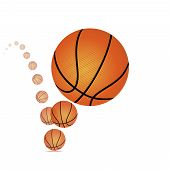 picture of bouncing  - Vector illustration of a bouncing basketball on white background - JPG