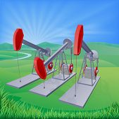 stock photo of nod  - Illustration of oil well pumpjacks also known as nodding donkeys horsehead pumps dinosaurs or by various other names - JPG