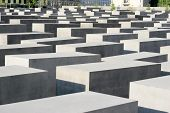 stock photo of memorial  - Close up detail of The concrete blocks that make up the public Memorial to the Murdered Jews of Europe - JPG