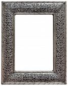 Moroccan Hewed Pewter Mirror Frame Isolated with Clipping Path