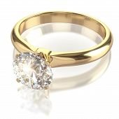 Diamond golden ring isolated