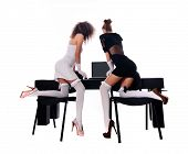 Sexy Two Women At Office With A Laptop