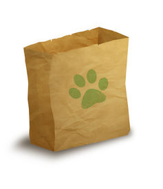 picture of bag-of-dog-food  - illustration of paper bag with green paw print on it - JPG