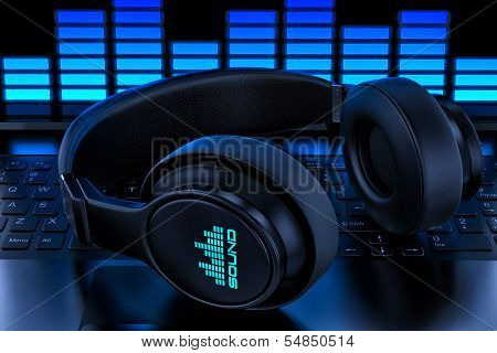 Headphones On Laptop. Recording Audio poster
