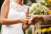 Bride puts ring on groom's finger