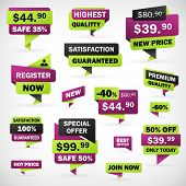 Set Business Offer Price Labels Green And Violet
