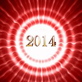 New Year 2014 In Red Circles With Rays
