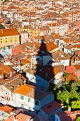 Aerial View With Rovinj Belfry Shadow, Croatia