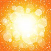 White shining circles and stars orange background