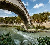 Panorama Of Tiber Island And Fabricio Bridge Over Tiber River, Rome, Italy