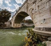 Panorama Of Tiber Island And Cestius Bridge Over Tiber River, Rome, Italy