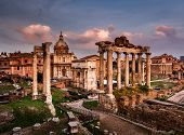 Roman Forum (foro Romano) And Ruins Of Septimius Severus Arch And Saturn Temple At Sunset, Rome, Ita