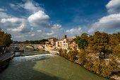 View On Tiber Island And Cestius Bridge, Rome, Italy