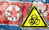 Old Cracked Wall With Biohazard Warning Sign And Painted Flag