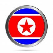 North Korea Flag Button.