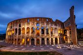 Colosseum Or Coliseum, Also Known As The Flavian Amphitheatre In The Evening, Rome, Italy
