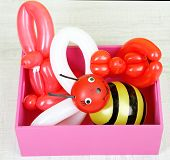 foto of parti poodle  - Simple balloon animals in wooden box - JPG