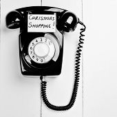 foto of olden days  - Retro Black Phone With Christmas Shopping Message - JPG