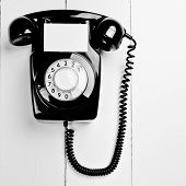 Retro Old Black Phone With Blank Space For Company Message