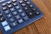 Digital calculator on table close-up