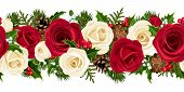 Christmas horizontal background with roses. Vector illustration.