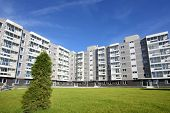 Sixstory apartment building in a residential complex. It is located on the picturesque glade near th