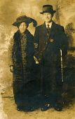 LODZ, POLAND, CIRCA 1910: Vintage photo of mother elegant couple, Lodz,Poland, circa 1910