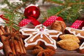 Christmas Decoration With Gingerbread Cookie And Spices